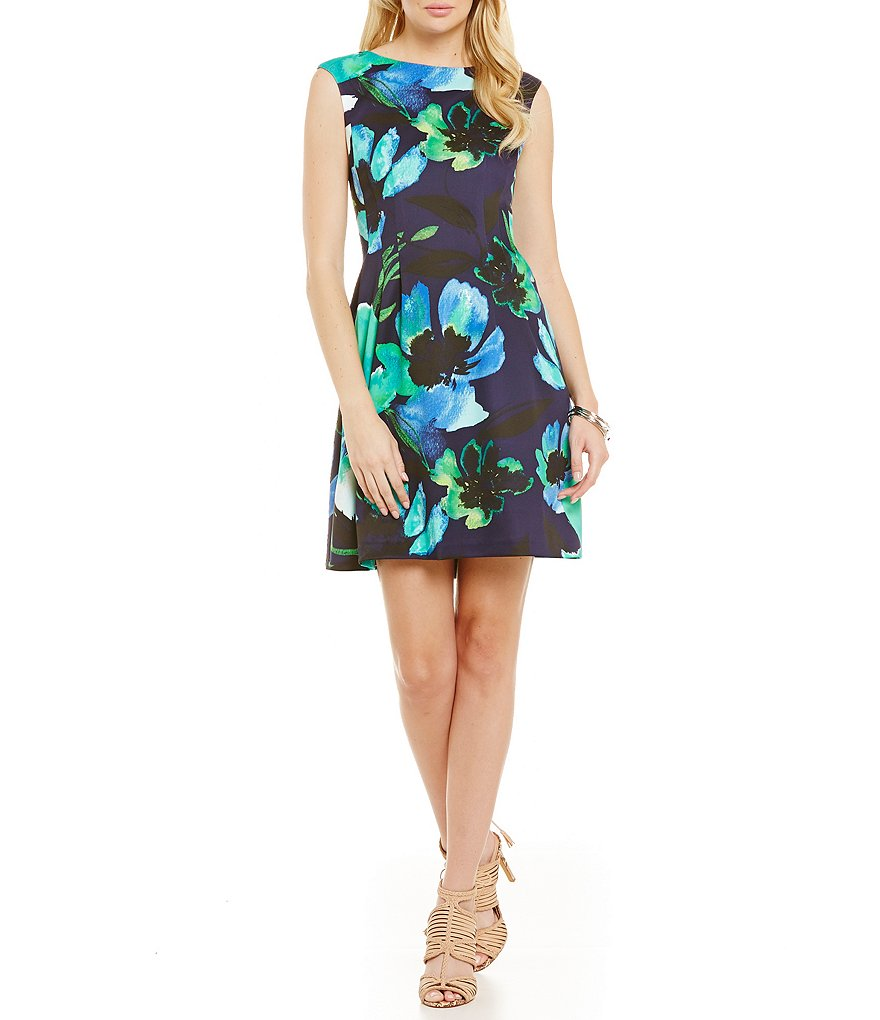 Vince Camuto Aqua Flower Flare Dress