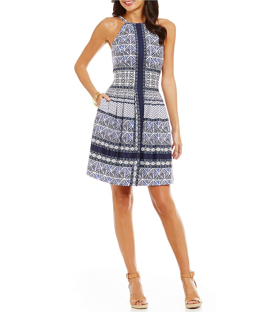 Vince Camuto Halter Border A-Line Dress