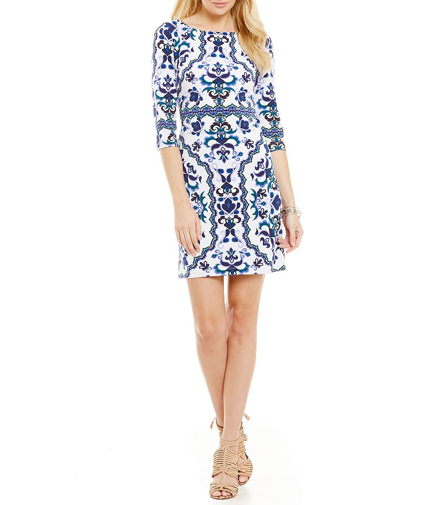 Vince Camuto Paisley Border Dress