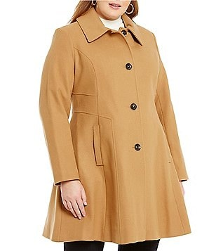 Preston & York Plus Fit-and-Flare Wool Coat