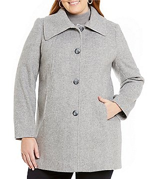 Preston & York Plus A-Line Wool Envelope Collar Walker Coat