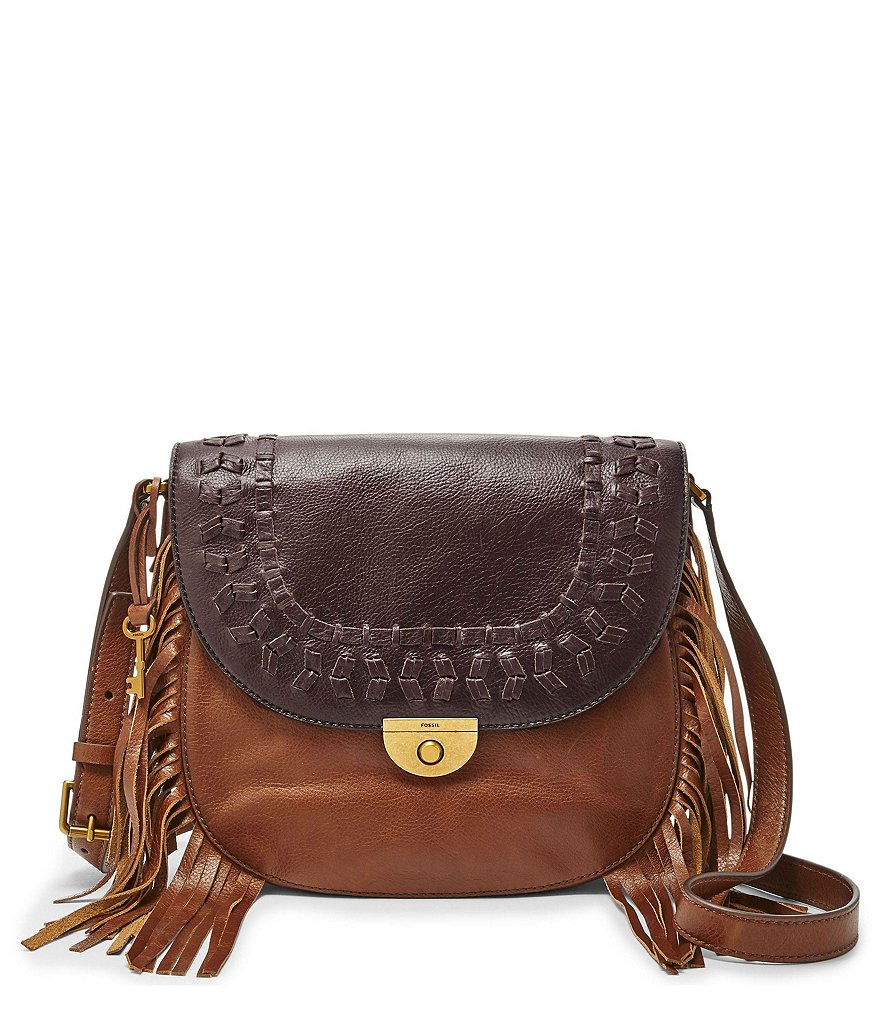 Fossil Emi Fringed Large Saddle Bag