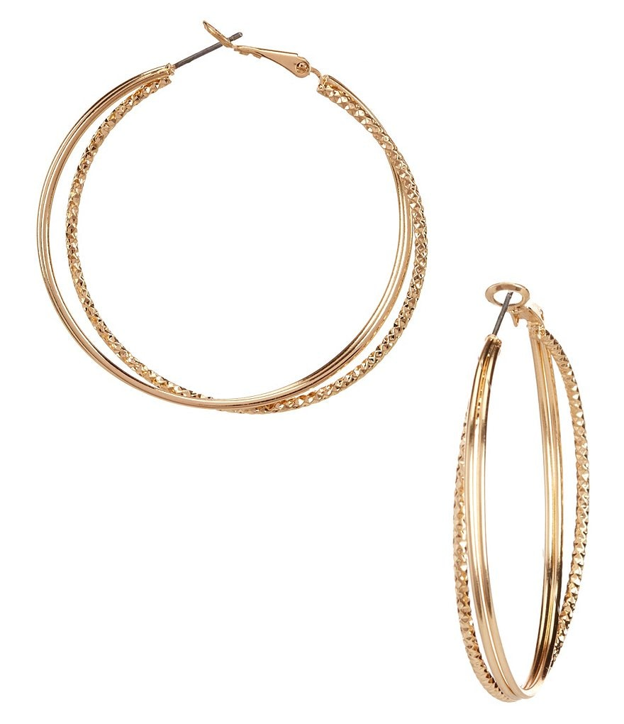 Natasha Accessories Textured X Hoop Earrings