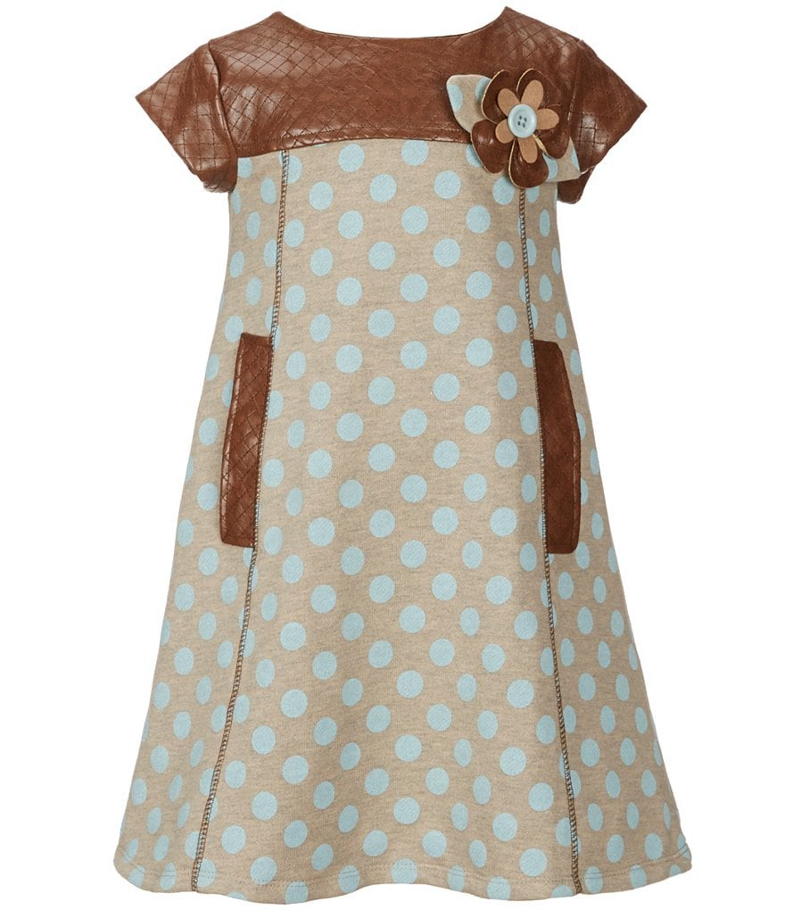 Little Angels by Us Angels Little Girls 2T-6X Dotted French Terry & Faux-Leather A-Line Dress