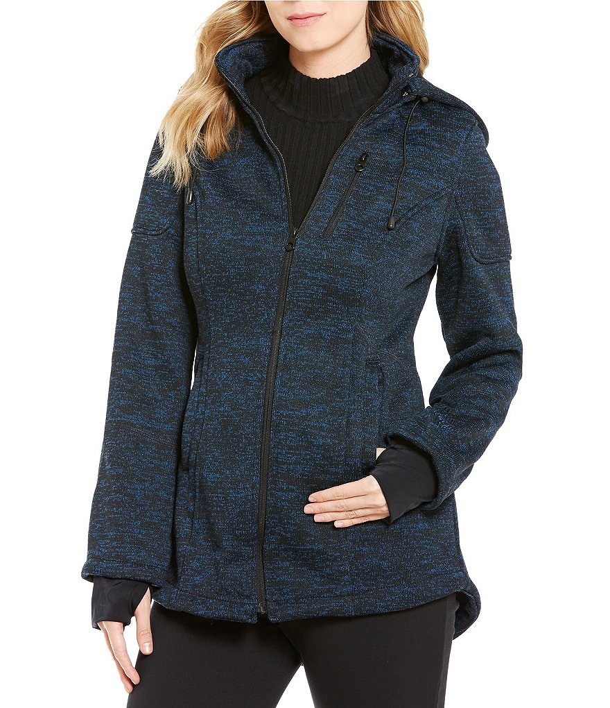 Preston & York Hooded Stand Collar Zip Front Jacket