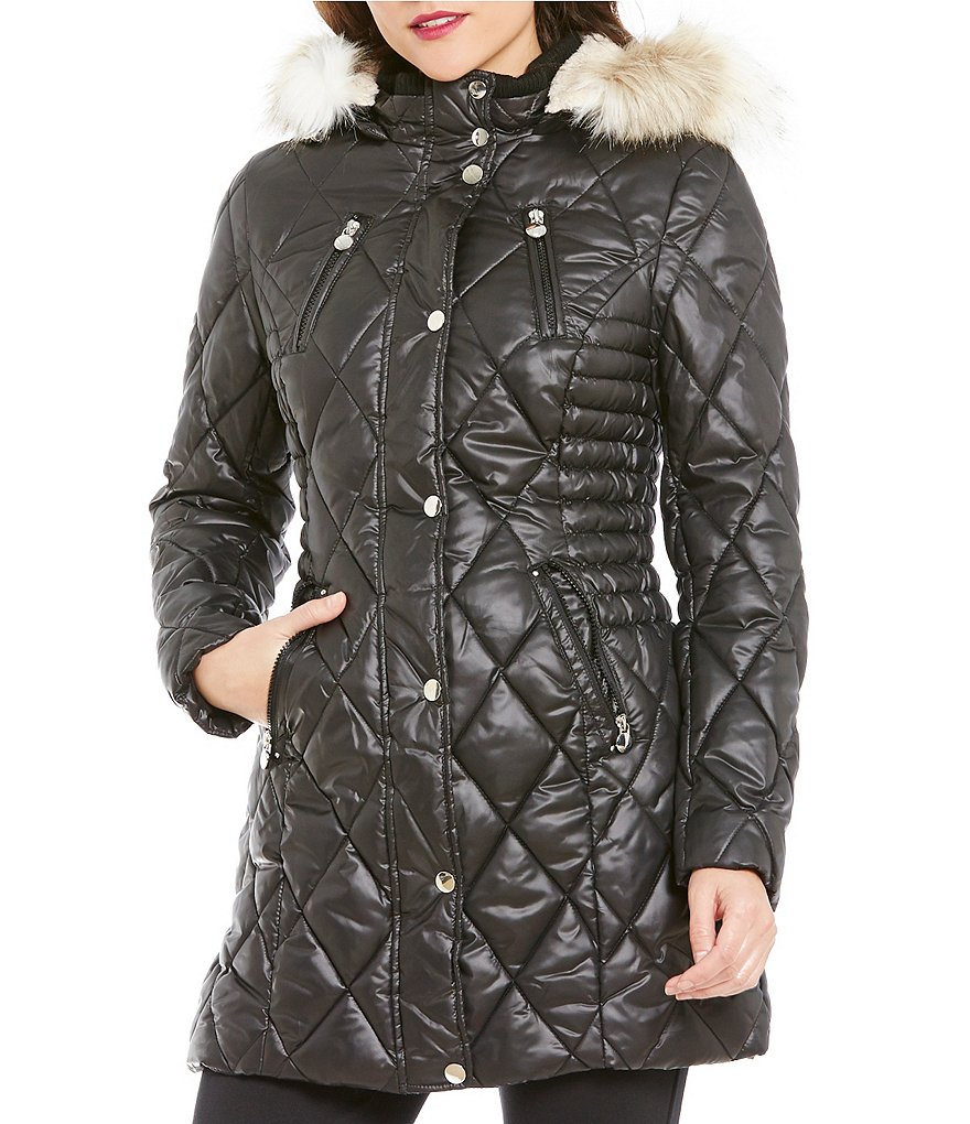 Preston & York Faux-Fur Trimmed Hood Ruched-Sides Puffer Coat