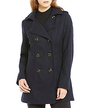 Preston & York Double Breasted Wool Peacoat with Detachable Hood