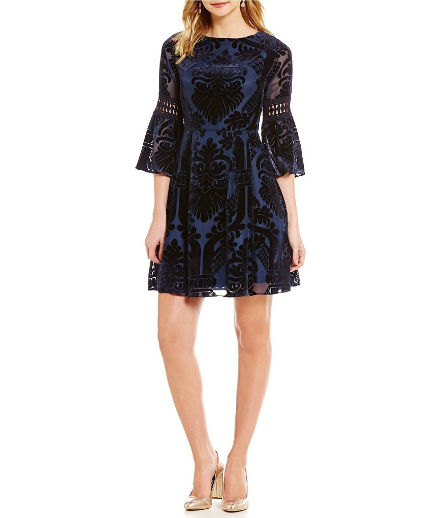 Eliza J Velvet Burn-Out 3/4 Bell Sleeve Fit-and-Flare Dress