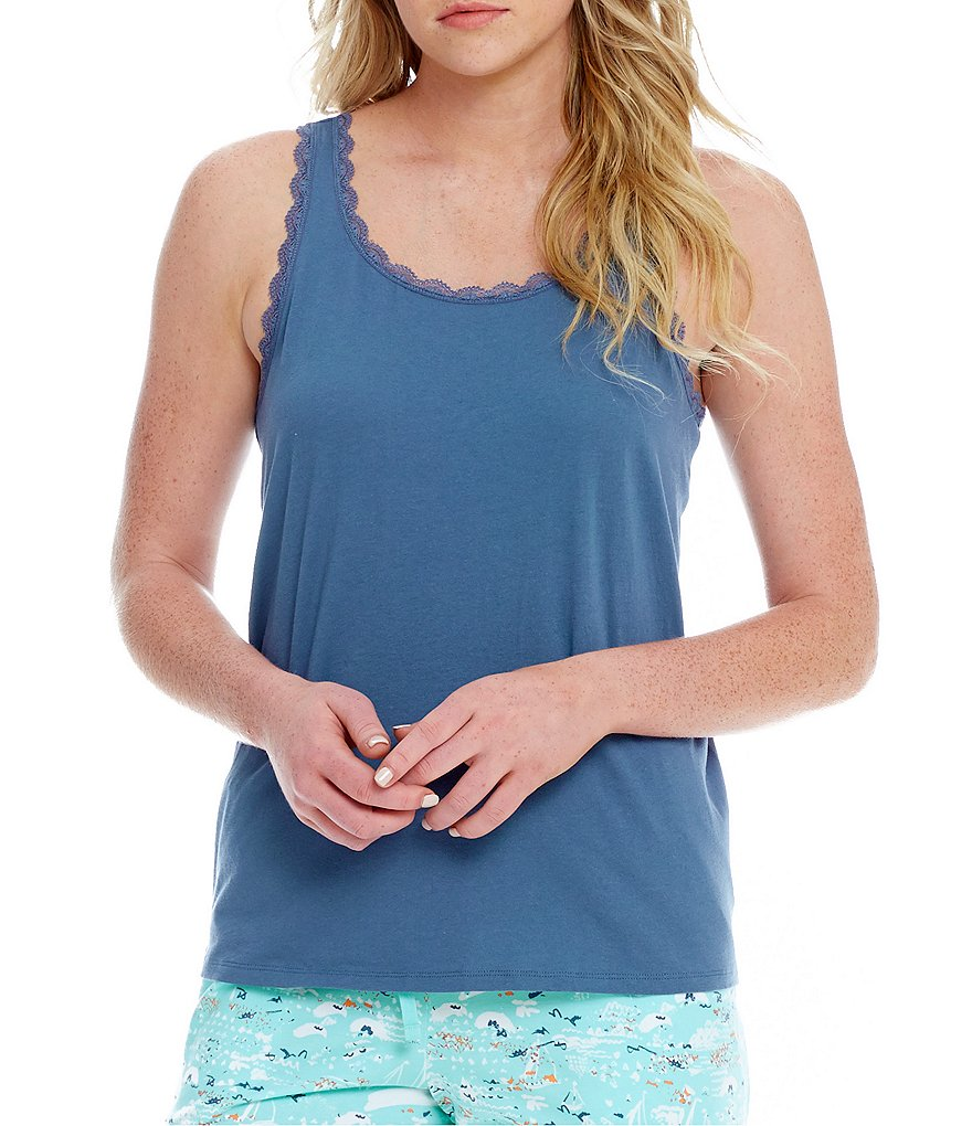 Sleep Sense Lace-Trimmed Jersey Sleep Tank