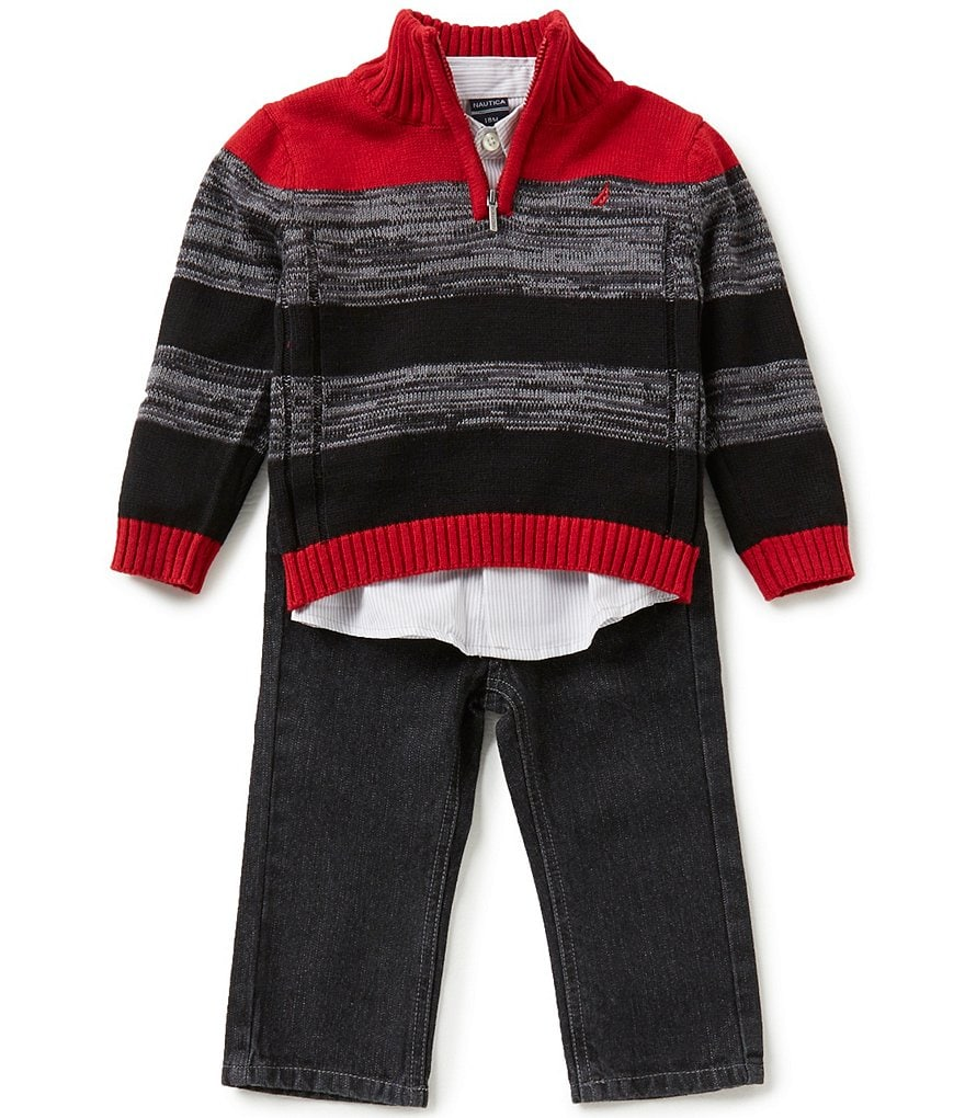 Nautica Baby Boys 12-24 Months Striped Half-Zip Sweater, Woven Shirt, and Denim Jeans Set