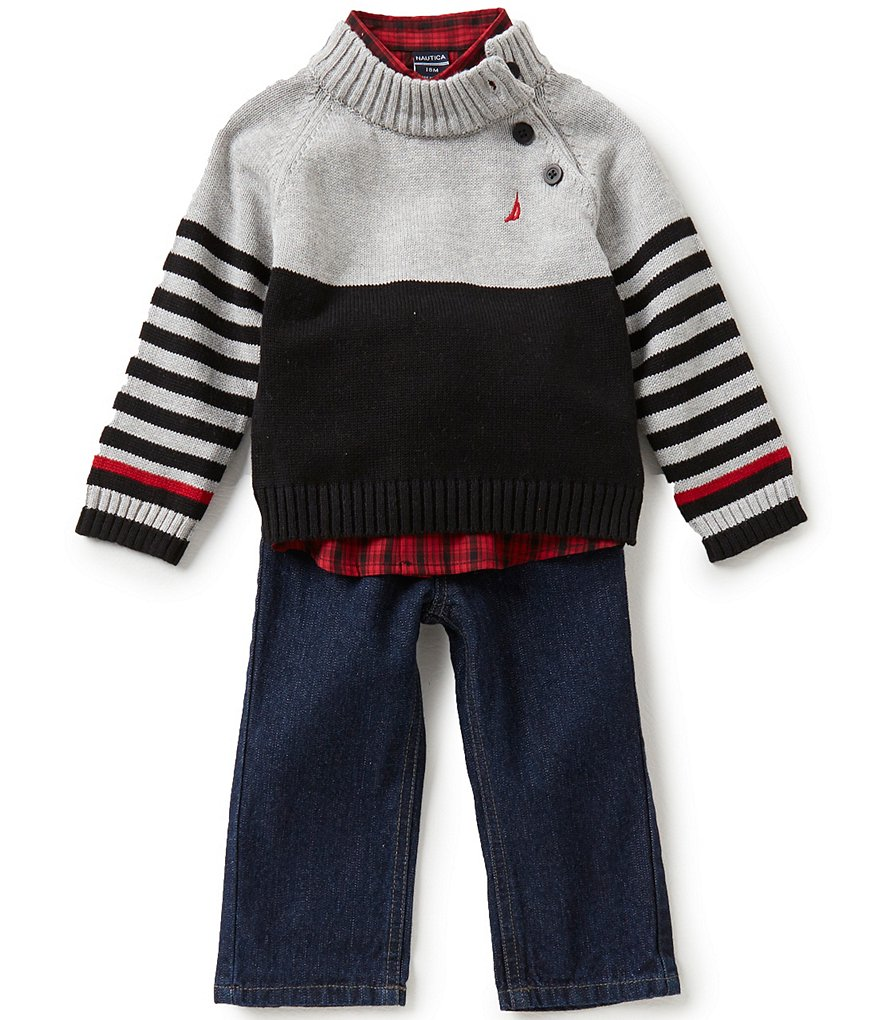 Nautica Baby Boys 12-24 Months Color Block/Stripe Sweater, Checked Woven Shirt, & Denim Jeans Set