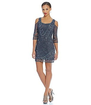 Pisarro Nights Petite 3/4 Sleeve Cold Shoulder Beaded Dress