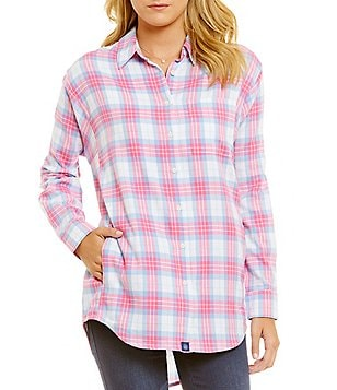 Lauren James Boyfriend Plaid Flannel Top