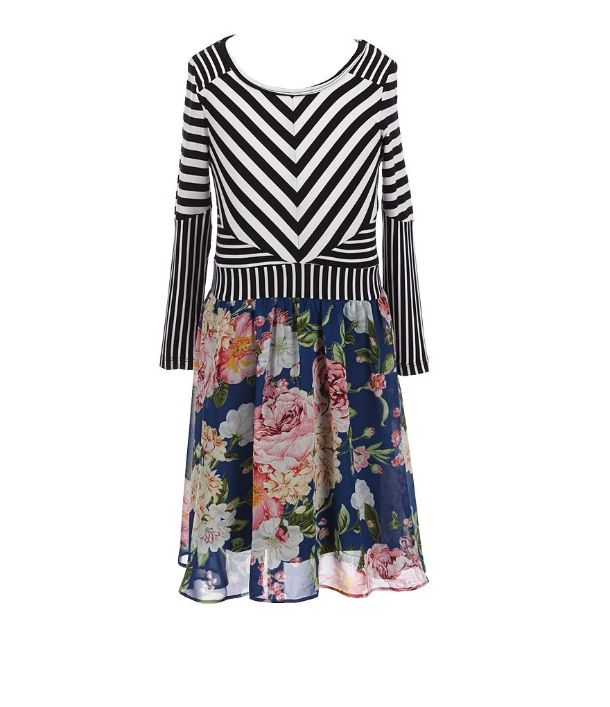Truly Me Big Girls 7-16 Striped Floral Dress