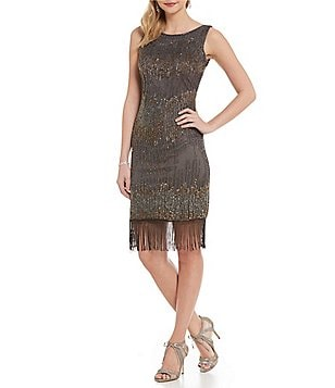 Pisarro Nights Petite Beaded Fringe-Hem Sheath Dress