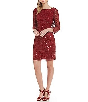 Pisarro Nights Petite 3/4 Sleeve Sequin Sheath Dress