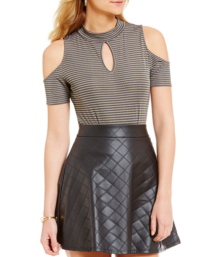 Soulmates Keyhole Mockneck Striped Cold-Shoulder Bodysuit