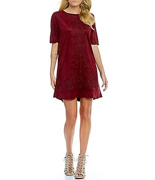 Miss Me Embroidered Faux-Suede Shift Dress