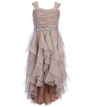 Tween Diva Big Girls 7-16 Jeweled Ruffled Glitter Hi-Low Dress