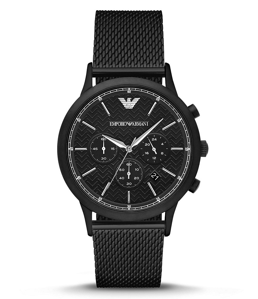 Emporio Armani Men´s Stainless Steel Mesh Bracelet Chronograph Watch