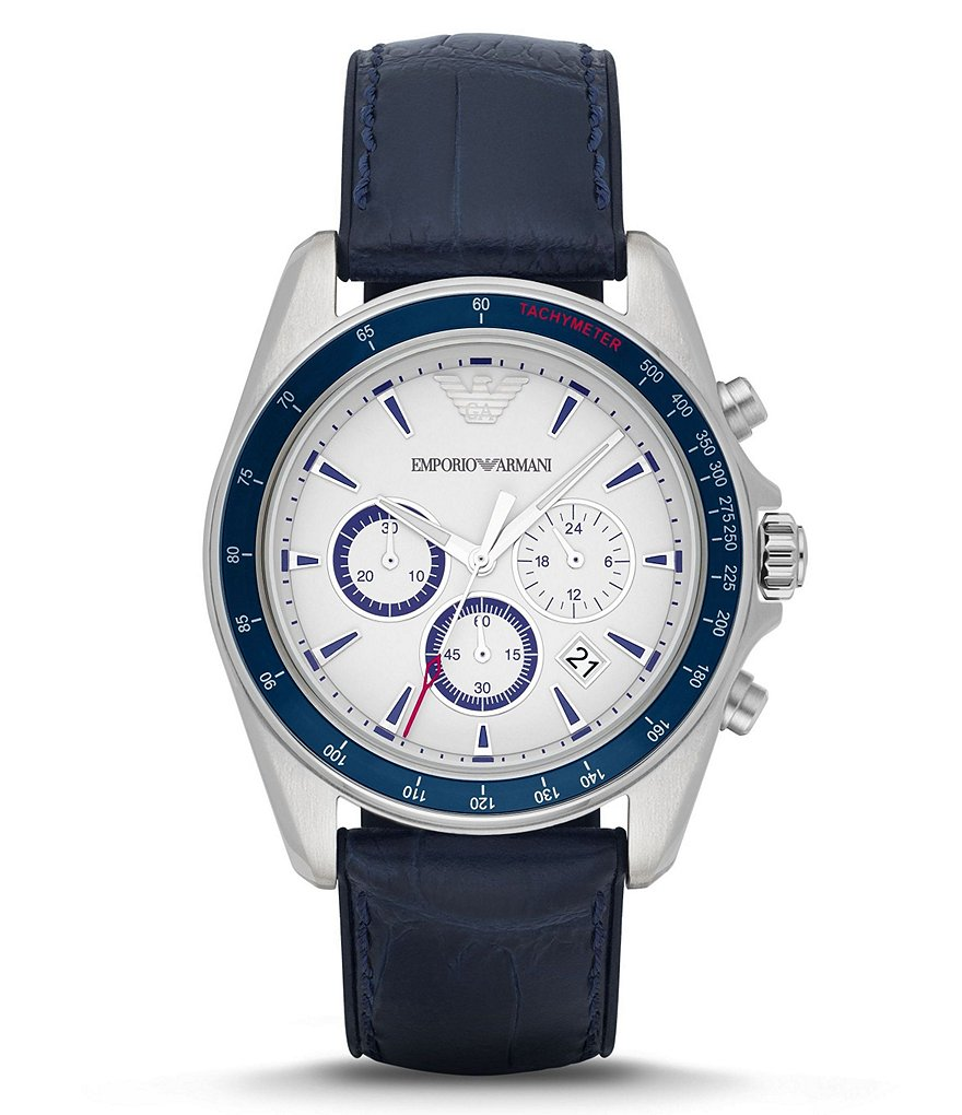 Emporio Armani Bonded Silicone/Leather Strap Stainless Steel Chronograph Watch