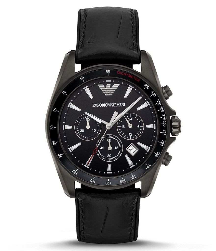 Emporio Armani Silicone & Leather-Strap Chronograph & Date Watch