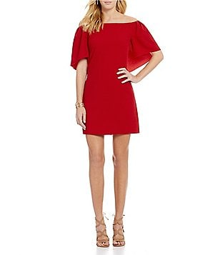 Trina Turk Dress Zealots Off-the-Shoulder Sheath Dress