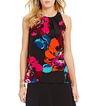 Trina Turk Bella Jewel Neck Sleeveless Floral Blouse