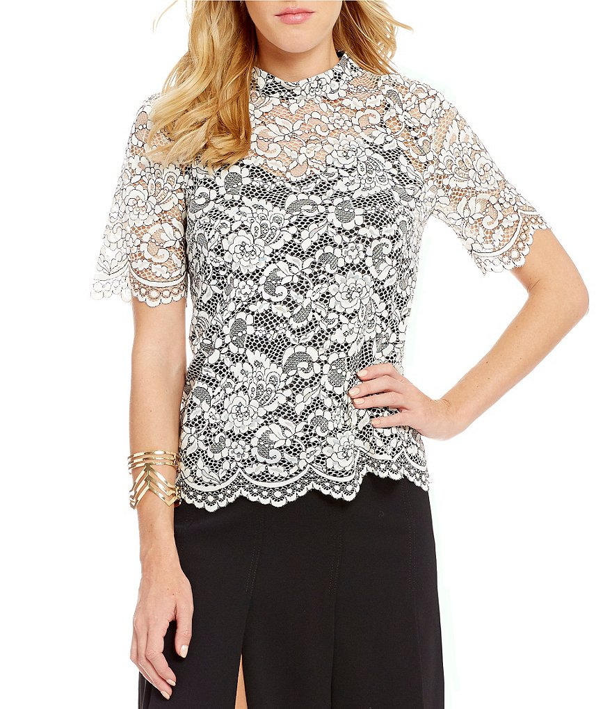 Trina Turk Damita Lace Mock Neck Short Sleeve Blouse