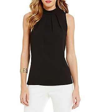 Trina Turk Woven Mock Neck Sleeveless Top