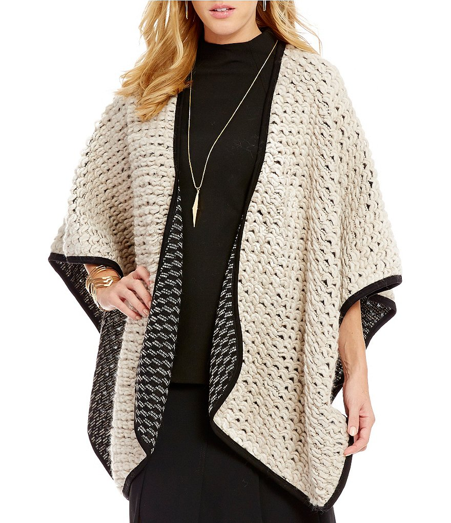 Trina Turk Galina OPen Front Elbow Sleeve Blanket Cardigan Poncho