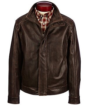 Roundtree & Yorke Mock Neck Pebbled Leather Jacket