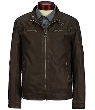 Murano Faux-Leather Moto Distressed Jacket