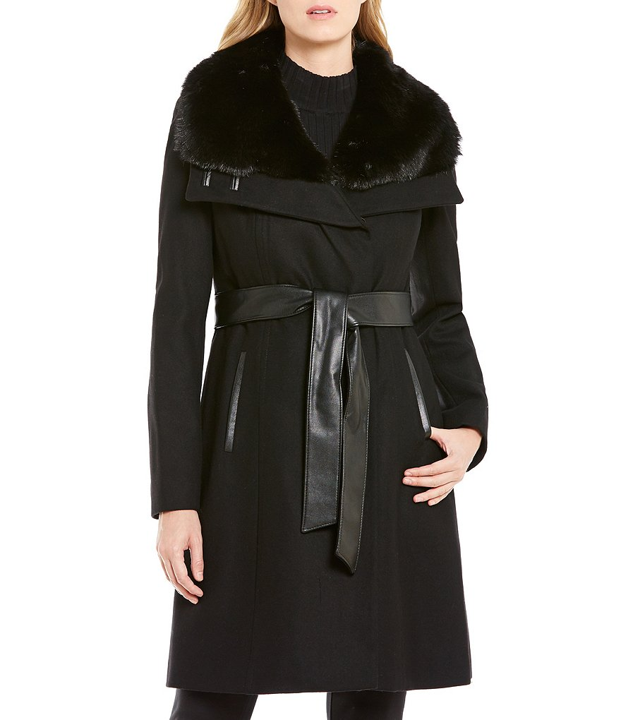 Preston & York Wool Wrap Coat with Faux-Fur Collar