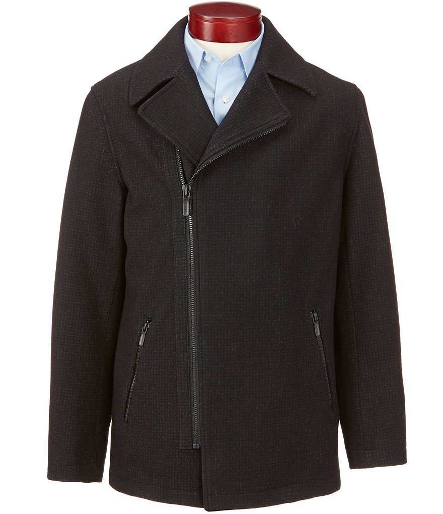 Murano Asymmetrical Zip-Front Wool Blend Jacket