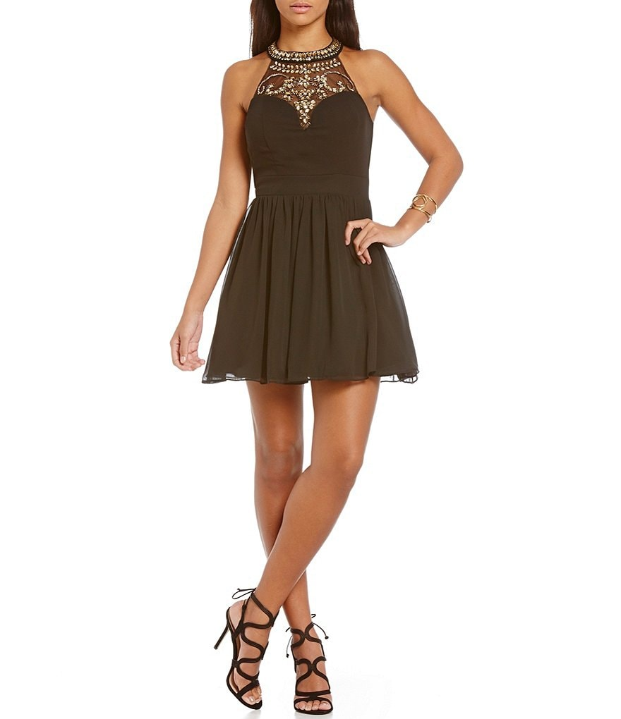 B. Darlin High Neck Beaded Yoke Party Skater Dress