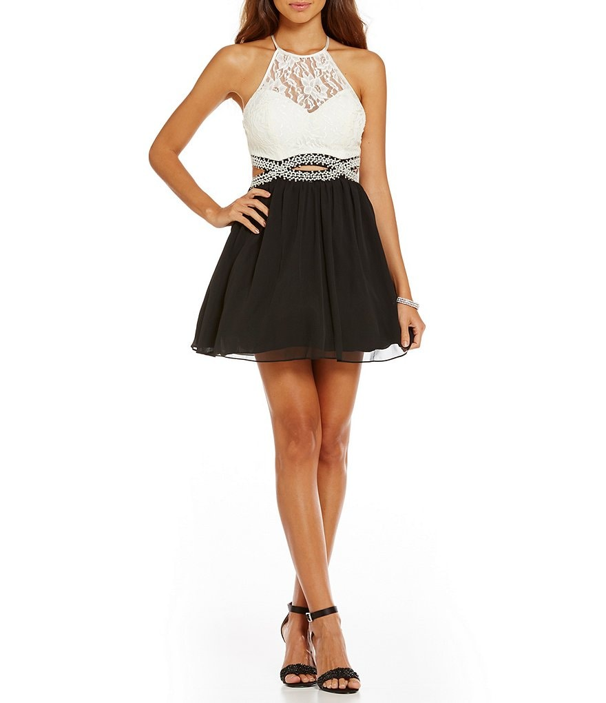 B. Darlin Beaded Infinity Waist Lace-Bodice Color Block Swing Dress