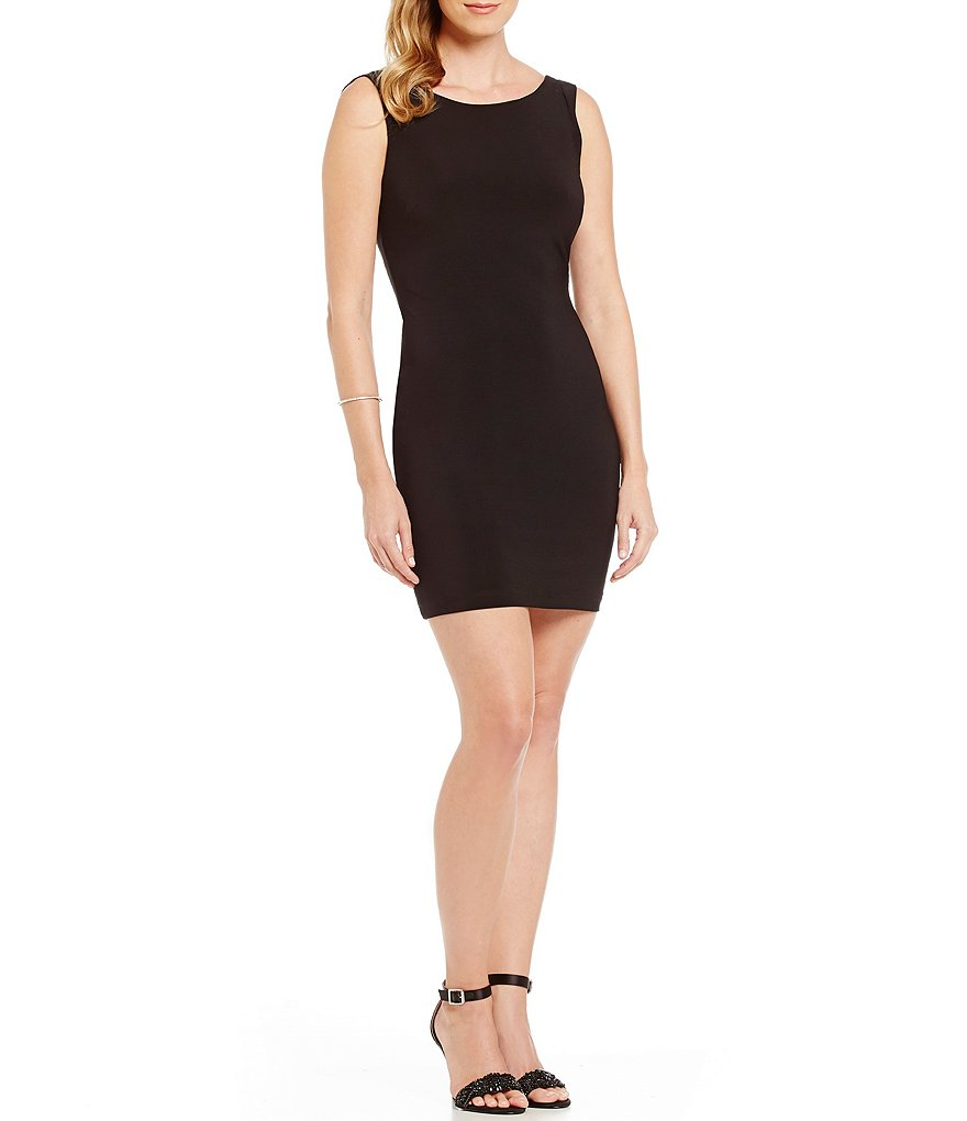 B. Darlin Faux-Pearl Draped Low Scoop Back Sheath Dress