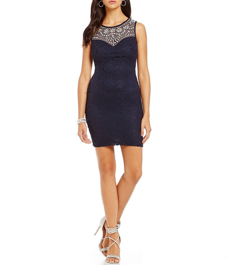 B. Darlin Illusion Beaded Yoke Lace Sheath Dress
