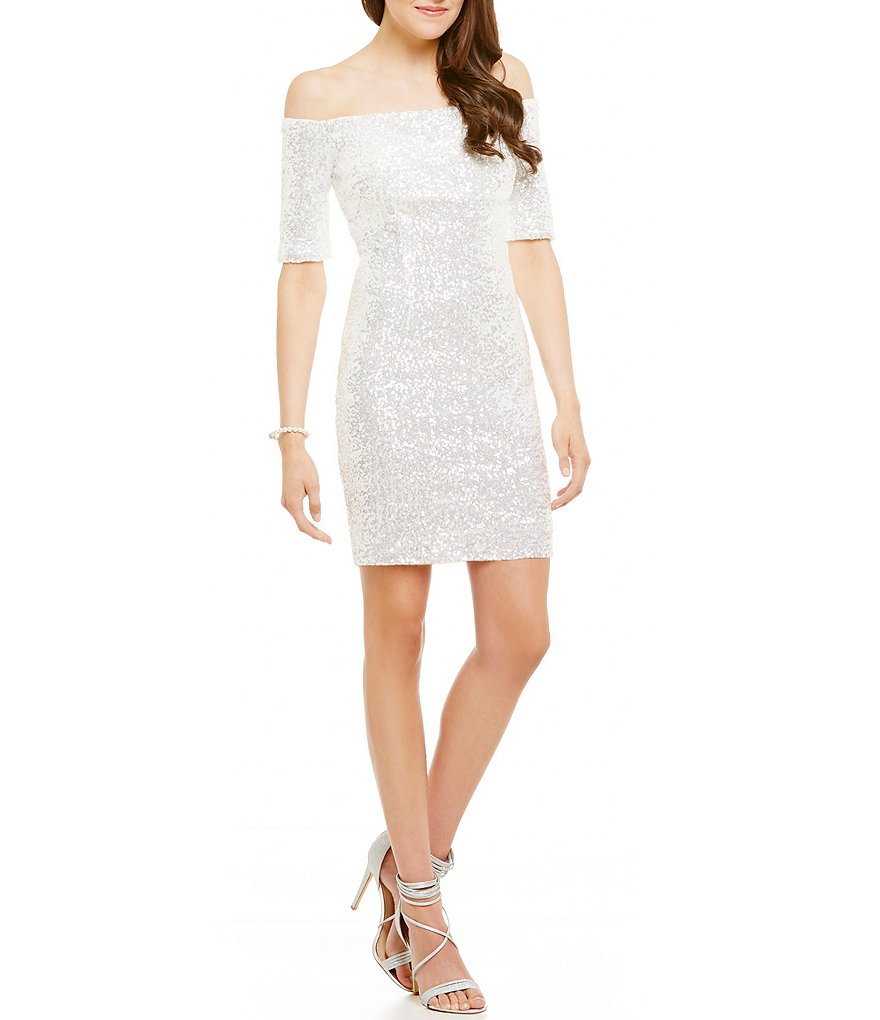 B. Darlin Off-The-Shoulder Sequin Sheath Dress