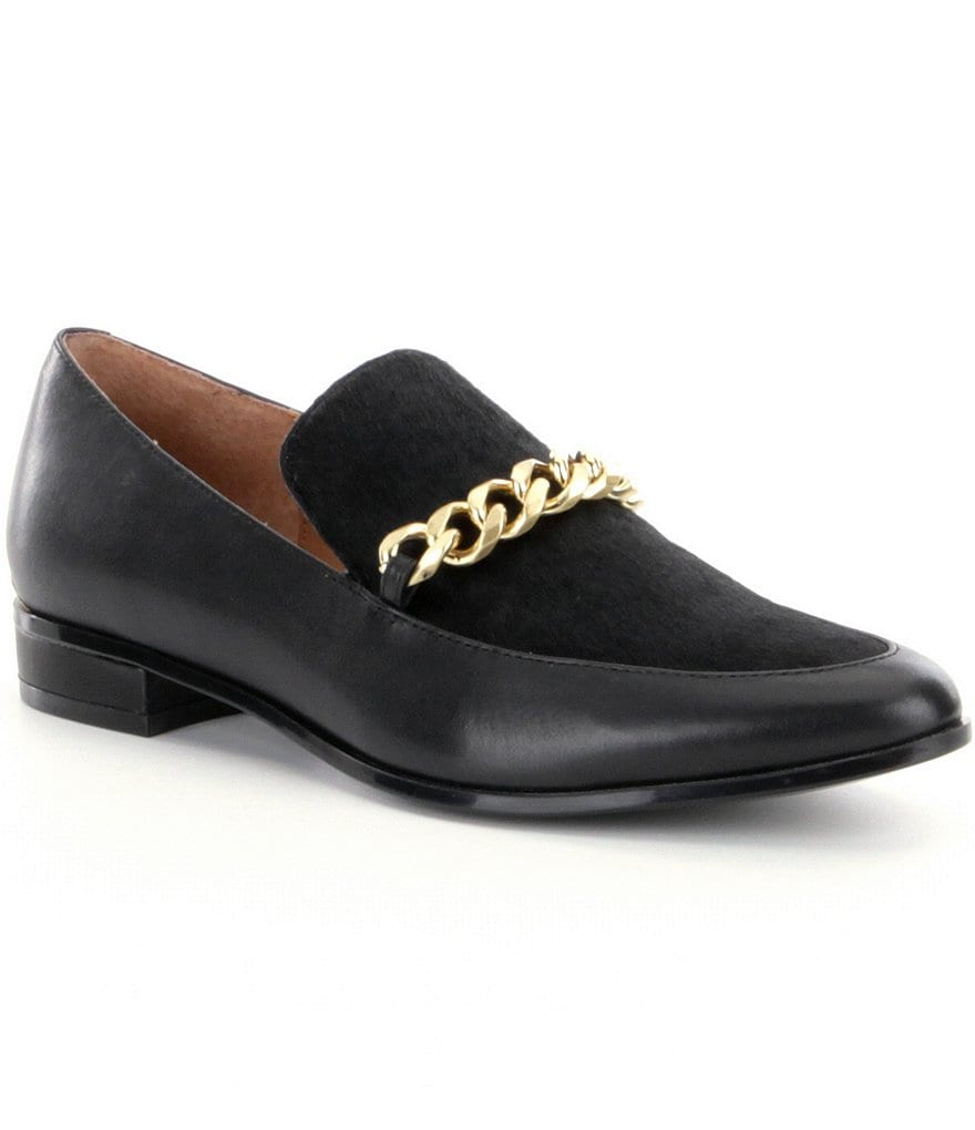 Calvin Klein Fanna Silk & Haircalf Slip-On Loafers