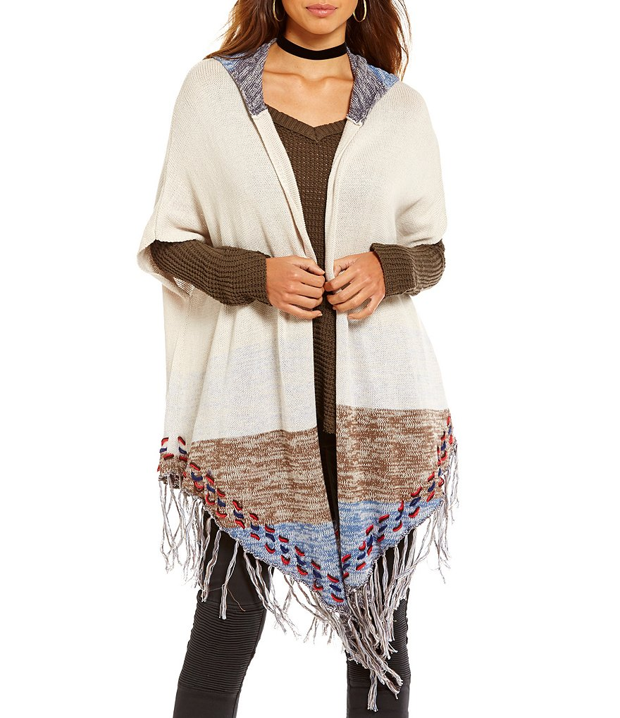 Elan Hooded Cardigan with Fringe Detail