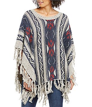 ELAN Round Neck Short Sleeve Tribal Print Fringe Poncho Sweater