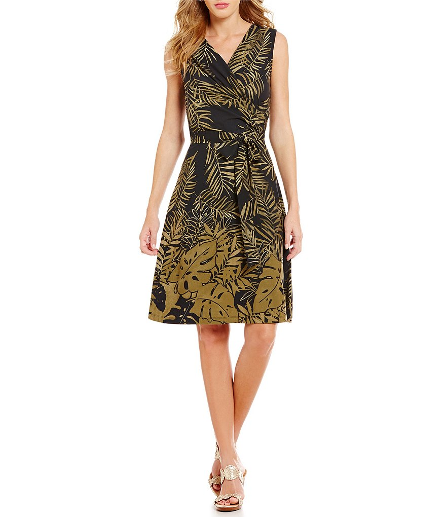 Tommy Bahama Fronds Falling V-Neck Sleeveless Printed Wrap Dress