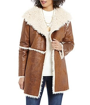 ELAN Open Lapel Angle Front Faux-Shearling and Faux-Suede Jacket