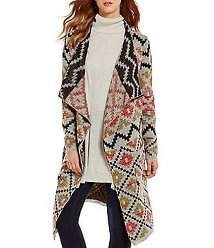 ELAN Long Sleeve Open Front Tribal Print Cardigan Sweater