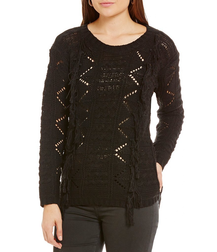 ELAN Crew Neck Fringe Sweater