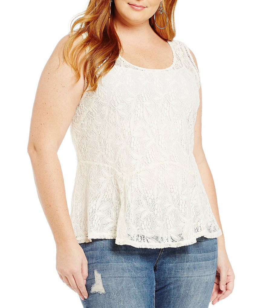 Jessica Simpson Plus Regine Sleeveless Lace Blouse