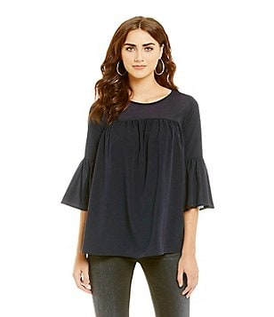 French Connection Polly Plains 3/4 Bell Sleeve Peasant Top