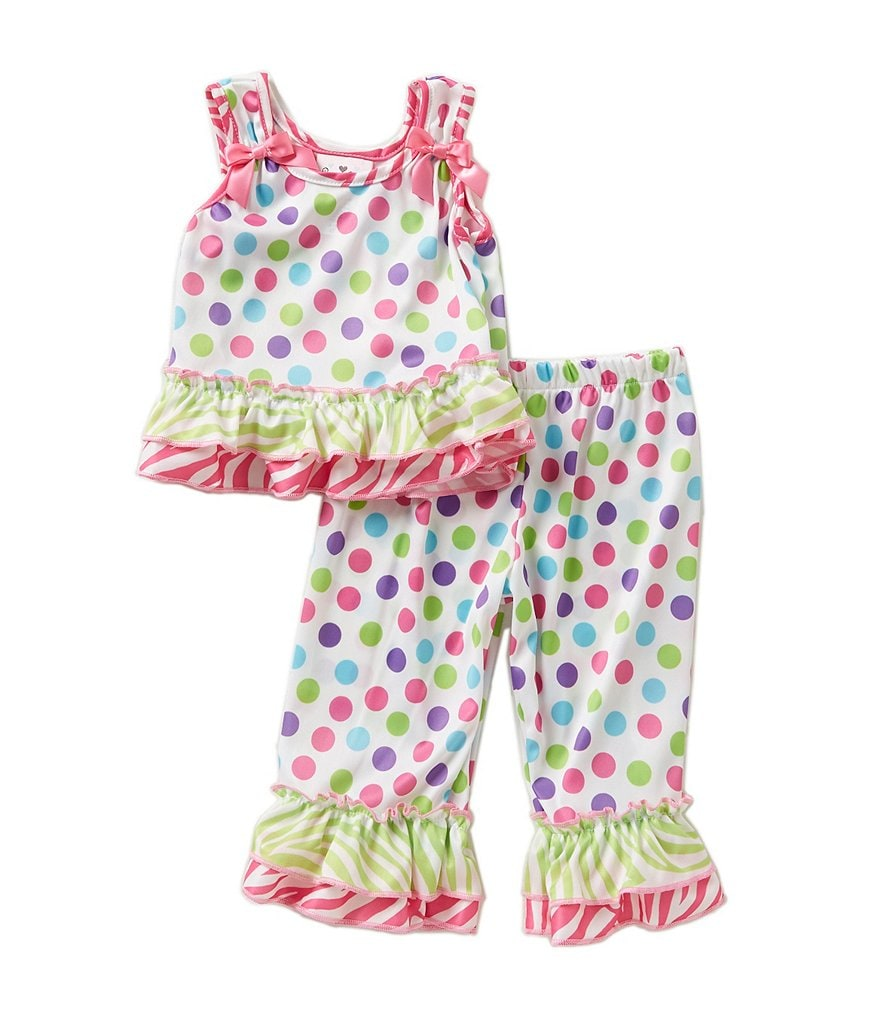 Laura Dare Little Girls 2T-6X Gumballs Bow Top Pajama 2-Piece Set